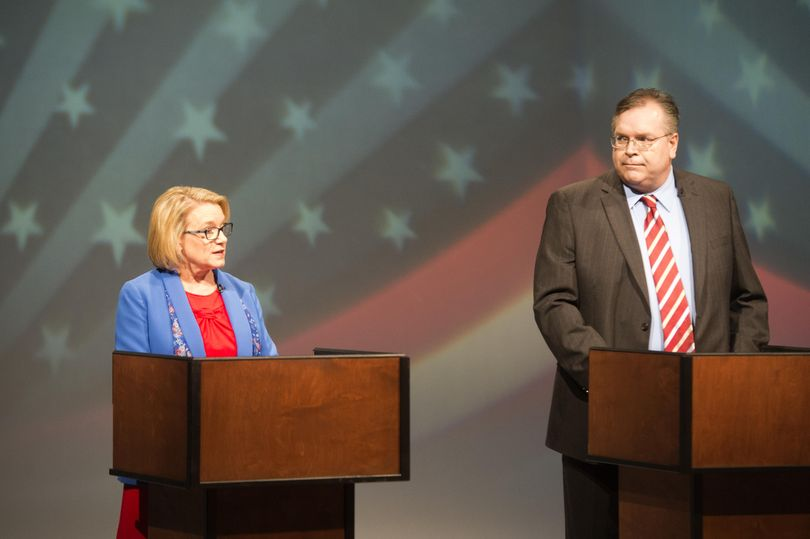 Democrat Lynnette Vehrs and Republican Mike Volz debate at KSPS-TV Monday, Oct. 3, 2016. The two are running for the vacated seat of Rep. Kevin Parker in the 6th House district in the Spokane area. (Jesse Tinsley / The Spokesman-Review)