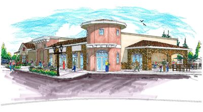 This  artist's drawing shows  a portion of phase three of the Wandermere Village development. This phase includes a 12,560-square-foot Ace Hardware and a 6,628-square-foot multiple tenant strip building with four suites. Courtesy of Vandervert Developments & Hotels (Courtesy of Vandervert Developments & Hotels / The Spokesman-Review)
