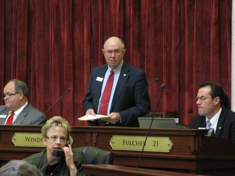 Senate Assistant Majority Leader Chuck Winder opens debate on the tax-cut bill on the Idaho Legislature's final day in session this year. (Betsy Russell)