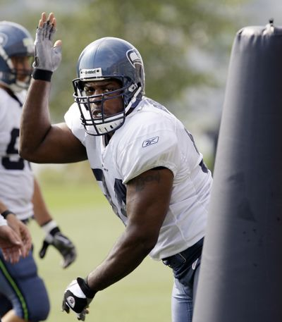 Seahawks' Cory Redding has been a standout at Seahawks training camp.  (Associated Press / The Spokesman-Review)