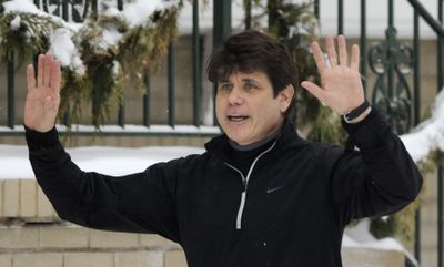 Illinois Gov. Rod Blagojevich talks to the media at his home in Chicago on Friday.  (Associated Press / The Spokesman-Review)