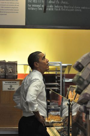 President Obama considers his choices at a Pioneer Square cafe, Aug. 17, 2010 (Jim Camden/Spokesman-Review)