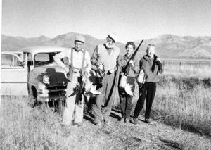 From left, Lloyd Arnold, Ernest Hemingway, Tillie Arnold and Mary Hemingway after a day of hunting near Sun Valley, Idaho.   (Associated Press / The Spokesman-Review)