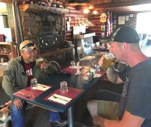 """I'd like to apologize, it was rude and disrespectful,"""" Votava said after buying Yochum a beer. (Liz Burch/KHQ photo)"""