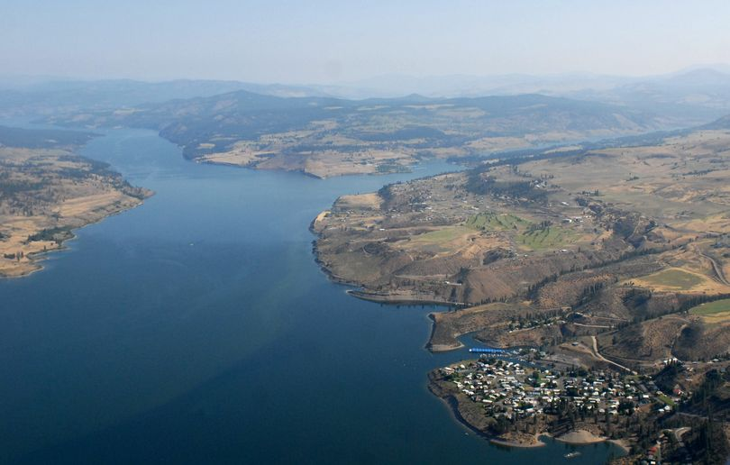 The Spokane River, right, flows into the larger Columbia River. The village of Seven Bays is at bottom right.  (The Spokesman-Review)