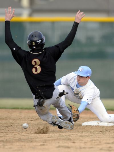 U-Hi's Jacob Olsufka beats ball to second base for a steal as CV shortstop Dane Berg covers the bag.  (Colin Mulvany / The Spokesman-Review)