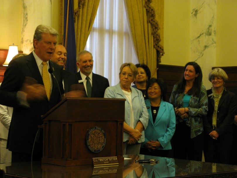 Gov. Butch Otter speaks at the bill-signing for the career ladder teacher pay bill, in the governor's office on Thursday (Betsy Russell)