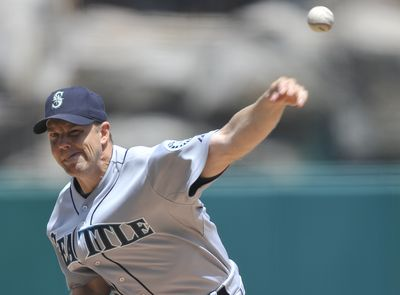 Jarrod Washburn was frustrated by his control. (Associated Press / The Spokesman-Review)