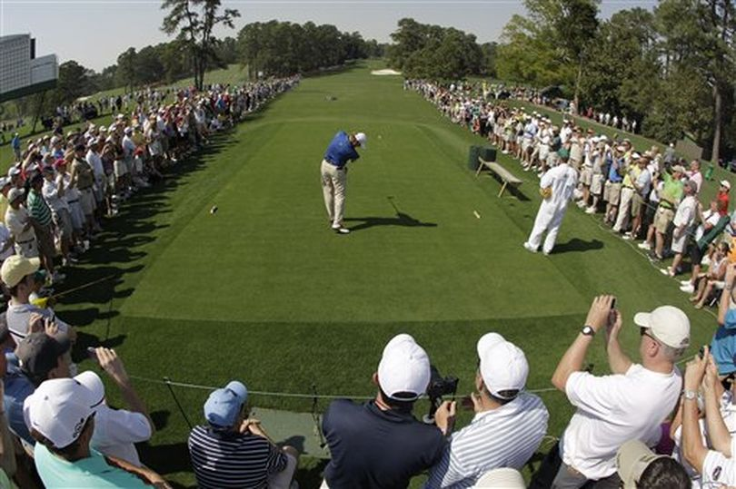 Ernie Els of South Africa tees off on the eighth hole during a practice round at the Masters golf tournament in Augusta, Ga., Tuesday, April 6, 2010. The tournament begins Thursday, April, 8.  (Charlie Riedel / AP Photo)