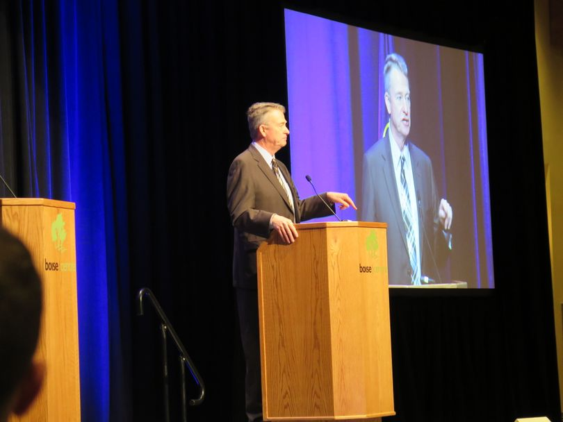 Idaho Lt. Gov. Brad Little addresses the Associated Taxpayers of Idaho annual conference on Wednesday, Dec. 6, 2017 in Boise. (Betsy Z. Russell)