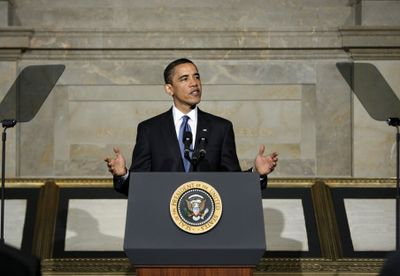 President Barack Obama delivers an address on national security, terrorism and Guantanamo Bay   in Washington on Thursday.  (Associated Press / The Spokesman-Review)