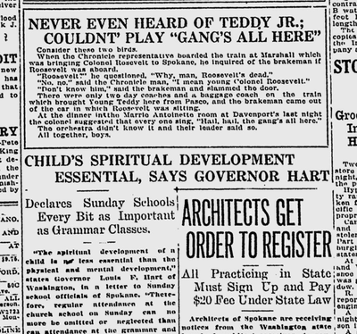 The Spokane Daily Chronicle was excited about the visit to Spokane of Theodore Roosevelt Jr., the son of the late president. However, the populace in general did not seem quite so excited. (Spokane Daily Chronicle archives)
