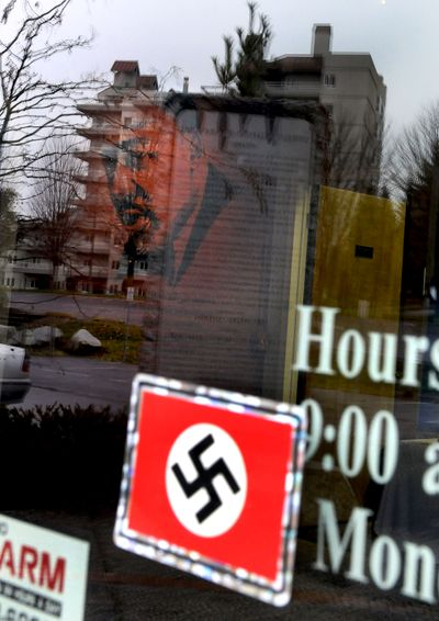 A swastika was found on the front door of the Human Rights Education Institute in Coeur d'Alene on Thursday, Nov. 19, 2009.