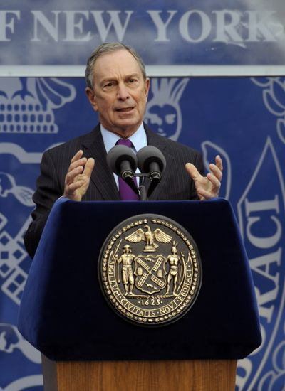 New York City Mayor Michael Bloomberg delivers his acceptance speech after being sworn in Friday.  (Associated Press)