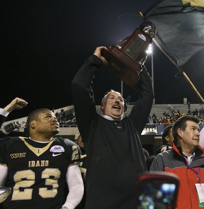 The highlight of Robb Akey's tenure in Moscow was the Humanitarian Bowl win over Bowling Green in 2009. (Associated Press)