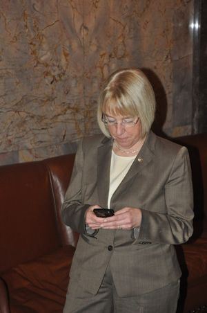 OLYMPIA -- Sen. Patty Murray, in the Senate wings, in the state Capitol on Feb. 20, 2012 (Christian Caple)