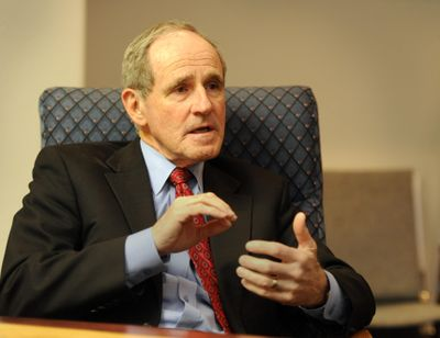 Idaho Senator Jim Risch talks about current topics in the U.S. Senate during a wide-ranging interview Friday, Mar. 8, 2013.  He was sitting at the headquarters of Contractors Northwest.  JESSE TINSLEY jesset@spokesman.com (Jesse Tinsley / The Spokesman-Review)