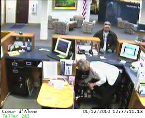This surveillance photo is from a robbery on Tuesday in Coeur d'Alene at the Washington Trust Bank. (Coeur d'Alene Police Department)