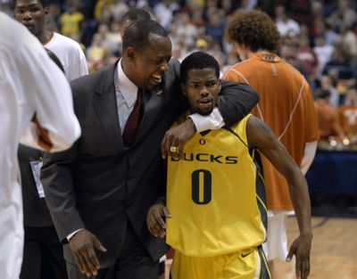 Two wins at the Spokane Arena in 2007 started new WSU coach Ernie Kent, Aaron Brooks and Oregon on the way to the Elite Eight. (Dan Pelle)
