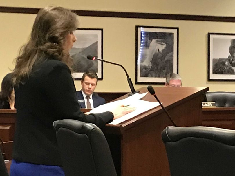 Rep. Heather Scott, R-Blanchard, presents legislation on limiting repeat bond and levy elections to the House State Affairs Committee on Friday, Feb. 16, 2018. (Betsy Z. Russell)