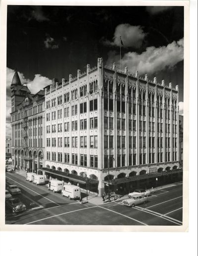 The Chronicle Building is at the corner of Sprague and Monroe in downtown Spokane. The top four floors of the six-story building, at 926 W. Sprague Ave., will be converted into 32 units starting next week,  Centennial Properties said. (Courtesy photo)