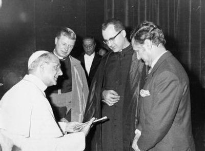 Monsignor Donnelly is second from right. At far right in the photo is K.S. Giniger, the publisher of Monsignor Donnelly's book, Prayers and Devotions of Pope John XXIII. They have presented a copy of the book to Pope Paul VI. The other individuals in the photo are unidentified.  (Photo courtesy of Inland Register / The Spokesman-Review)