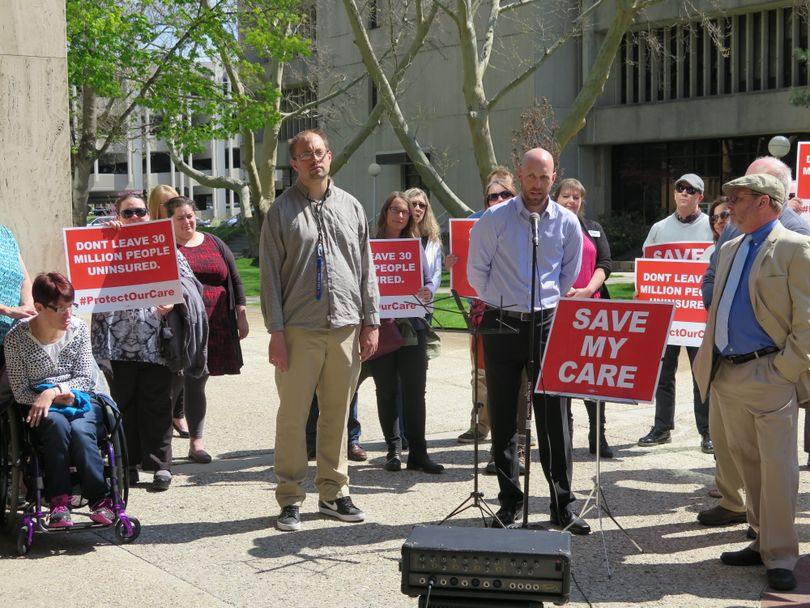 Advocates for Idahoans with disabilities speak out at a news conference Tuesday in Boise (Betsy Z. Russell)