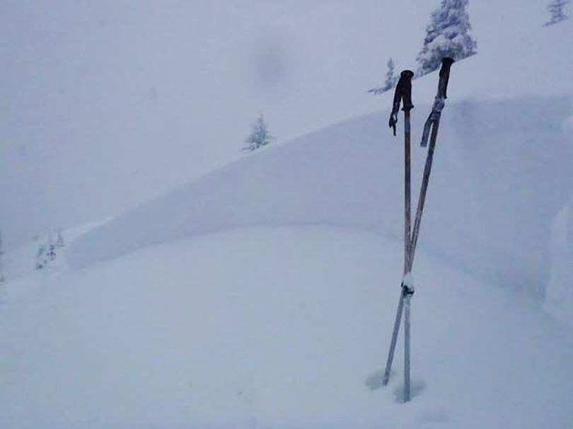 The crown of a skier-triggered avalanche that happened near Mores Creek Summit Dec. 21. 