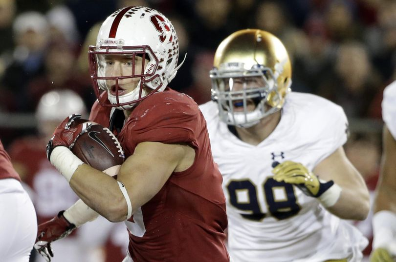 Stanford running back Christian McCaffrey gained 228 all-purpose yards to become the third FBS player top 3,000 in a season, but was held to 94 on the ground to have a nine-game streak of 100-yard games snapped.