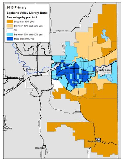 This is the precinct breakdown of votes in the Spokane Valley library service area bond issue as of Wednesday evening, 8/5/2015. (Jim Camden/Spokesman-Review)