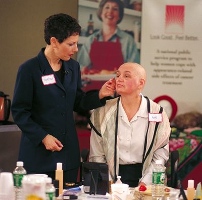 Makeup artist Teresa Lopuchin works with a participant in the Look Good, Feel Better program.  (Associated Press / The Spokesman-Review)