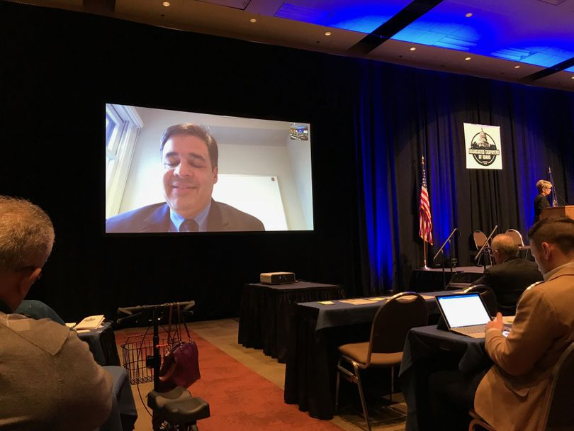 Idaho GOP Rep. Raul Labrador addresses the Associated Taxpayers of Idaho via video link on Wednesday, Dec. 6, 2017, from Washington, D.C. (Betsy Z. Russell)