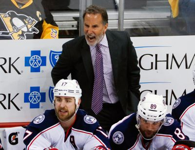 In this April 20, 2017, file photo, Columbus Blue Jackets head coach John Tortorella has words for a referee during the third period in Game 5 of an NHL first-round hockey playoff series against the Pittsburgh Penguins in Pittsburgh. The Blue Jackets played one more playoff game this season than last, but its all the same to general manager Jarmo Kekalainen and coach John Tortorella. Not good enough. (Gene J. Puskar / Associated Press)