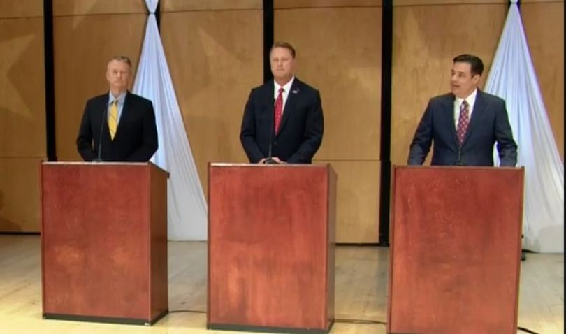 From left, Brad Little, Tommy Ahlquist and Raul Labrador debate on Monday, April 30, 2018, at the Brandt Center at Northwest Nazarene University, in a debate sponsored by KTVB-TV; it was the final debate of the primary campaign season for the three GOP rivals. Idaho's primary election is May 15. (KTVB/Screensho)