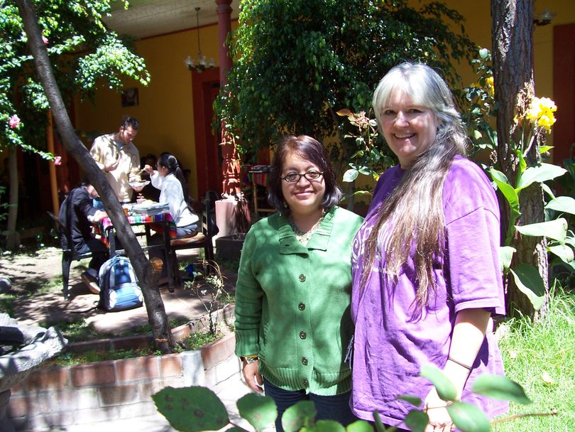 Reverend Debra Conklin, right, of Liberty Park United Methodist Church, is shown at Celas Maya Spanish School in Xela, Guatemala. Next to Conklin is Maria, her Spanish tutor. Conklin is the new president of the South Perry Business and Neighborhood Association (SPBNA).