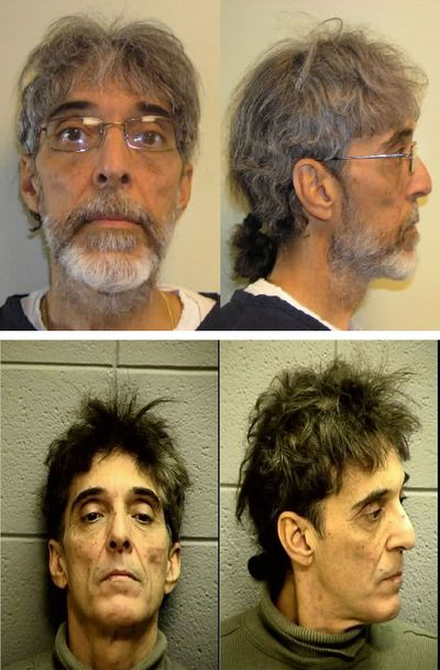 These booking photos show Mitchell Lee Walck, 57, before (top) his fugitive status and after (bottom) he was arrested by Bismarck, N.D., police officers.
