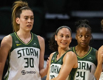 The Storm's Olympians, from left, Breanna Stewart, Sue Bird and Jewell Loyd.  (Dean Rutz/Seattle Times)
