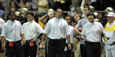 The University of Idaho has Division I-A's youngest coaching staff, including, from left, Alundis Brice, Steven Peterson, James Cregg, Joel Thomas and Jonathan Smith.  (University of Idaho / The Spokesman-Review)