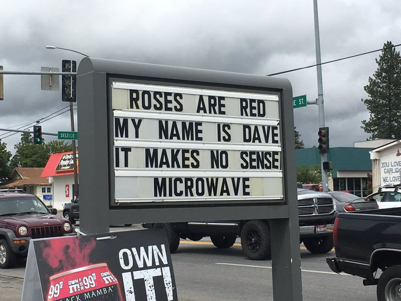 KHQ's Liz Burch spotted this bit of unusual rhyme in Post Falls during a North Idaho news outing this week. Does anyone know what it means?