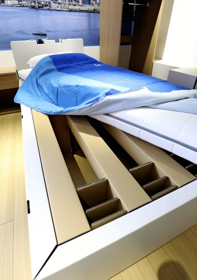 A cardboard bed used at the Tokyo Olympic and Paralympic athletes village.  (Japan News-Yomiuri)