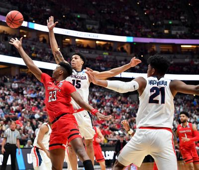 Texas Tech Red Raiders guard Jarrett Culver (23) lays in the ball against Gonzaga during the first half of an NCAA Elite Eight basketball game on Saturday, March 30, 2019, at the Honda Center in Anaheim, Calif. (Tyler Tjomsland / The Spokesman-Review)