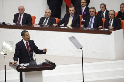 President Barack Obama addresses the general assembly at the Turkish parliament building in Ankara, Turkey, on Monday.  (Associated Press / The Spokesman-Review)