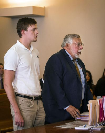 Ryan Fish stands with his lawyer, Paul Chinigo, in Norwich Superior Court on Tuesday, May 8, 2018 in Norwich, Conn. Fish faces two counts of risk of injury to a child, four counts of second-degree reckless endangerment and one count of second-degree breach of peace. (Melanie Stengel / Hartford Courant)