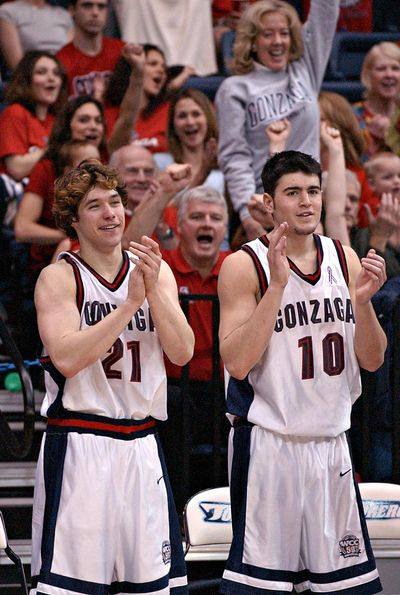 "Dan Dickau, left, and Blake Stepp will be just two of several former Zags basketball stars to team up again to play in ""The Basketball Tournament."" (File Associated Press)"
