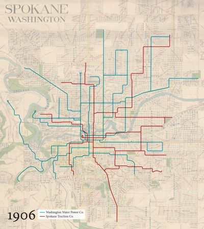 https://twitter.com/transitmap Until now. Cameron Booth, a Portland-based graphic designer from Australia, has given Spokane's streetcar and interurban rail past a decidedly 21st-century treatment. In the past couple of weeks, Booth has mapped out the decades of growth experienced by the city's once robust streetcar network, and plotted out the reach of the electric interurban lines from 1920.