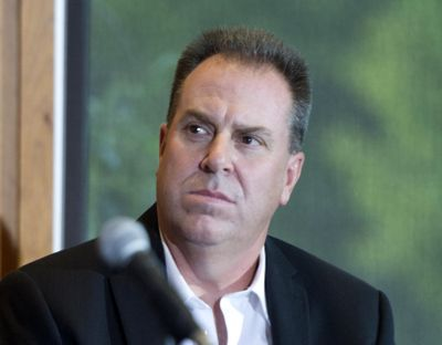Scott Carter listens as owner Bobby Brett announces him as the new general manager of the Spokane Chiefs hockey team Thursday, Sept. 8, 2016 at the Spokane Arena.  He will replace outgoing manager Tim Speltz.  JESSE TINSLEY jesset@spokesman.com (Jesse Tinsley / The Spokesman-Review)