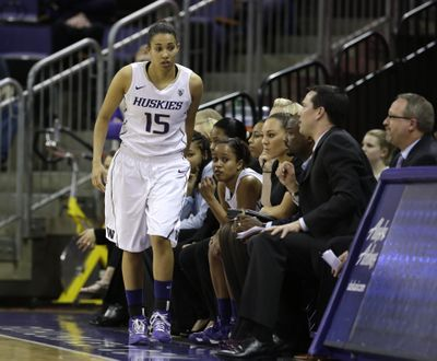 Washington's Jeneva Anderson leaves the bench to play against Stanford in a 2013 NCAA college basketball game  (Associated Press)