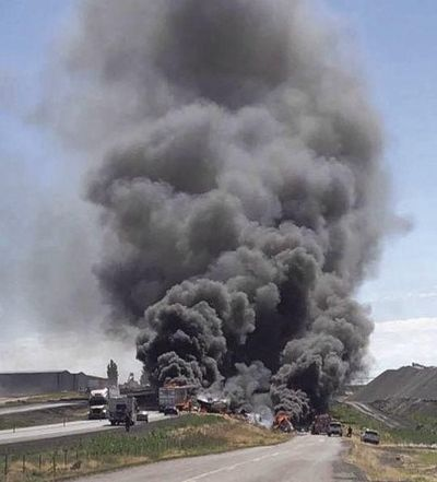 Smoke fills the air at the scene of Tuesday morning's fiery collision between two semis on Interstate 84 near Twin Falls. (Courtesy)