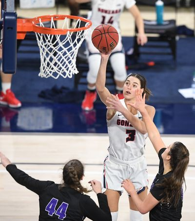 Gonzaga Bulldogs forward Jenn Wirth (3) shoots the ball against Portland during the second half of a college basketball game on Saturday, January 9, 2021, at McCarthey Athletic Center in Spokane, Wash. Gonzaga won the game 75-43.  (Tyler Tjomsland/THE SPOKESMAN-RE)