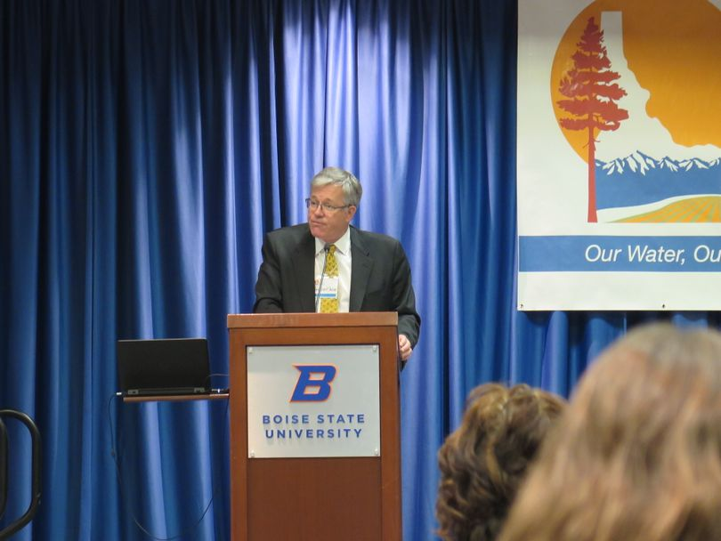 University of Idaho President Chuck Staben speaks at a climate summit at Boise State University on Thursday, Nov. 16, 2017. (Betsy Z. Russell)